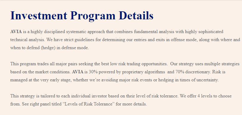 Avia Managed Forex Program Review