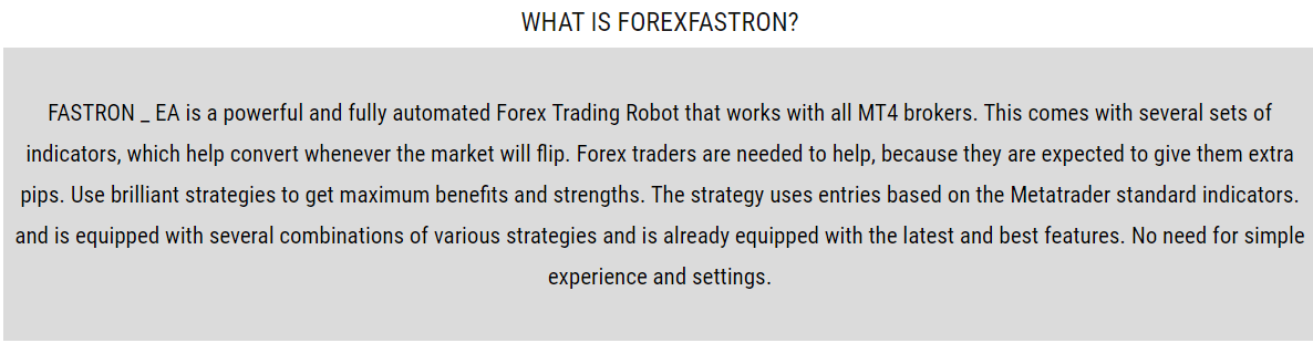 Forex Fastron Strategy