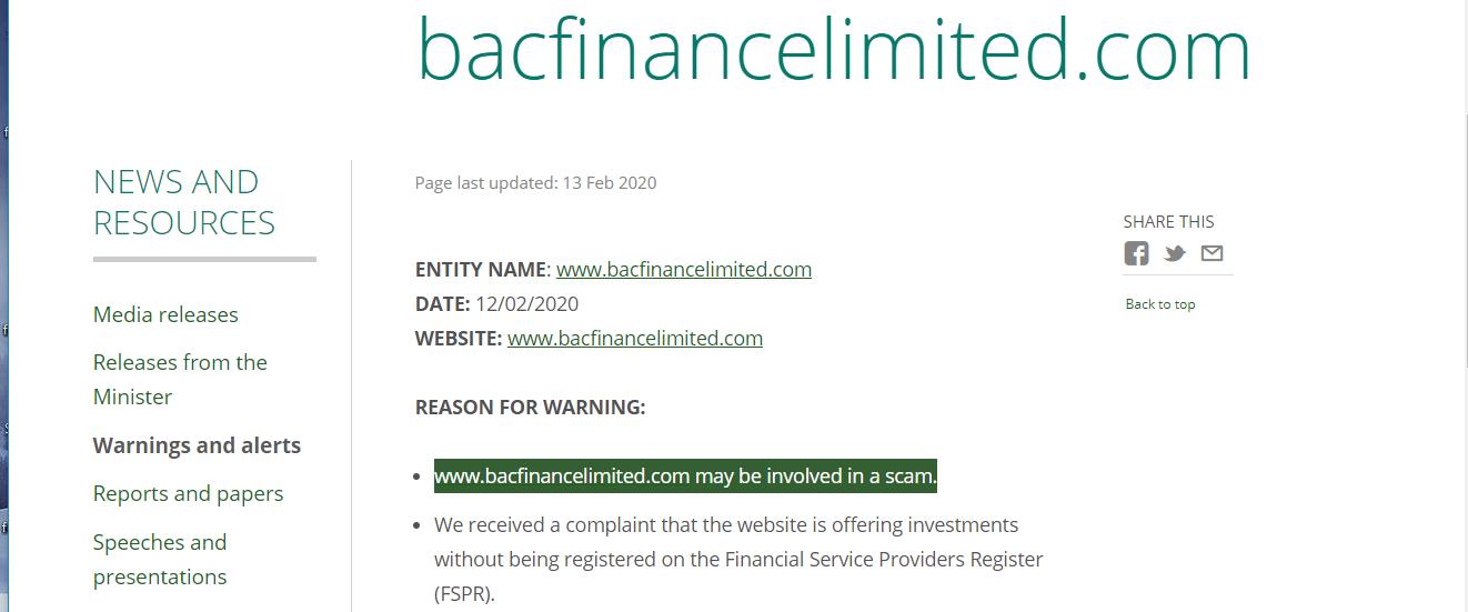 Bac Finance Warning