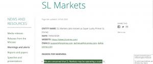 SL Markets Warning