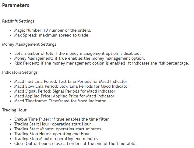 Redshift EA settings